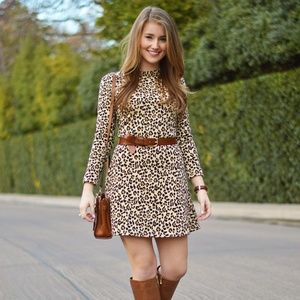 Zara leopard print long sleeve dress